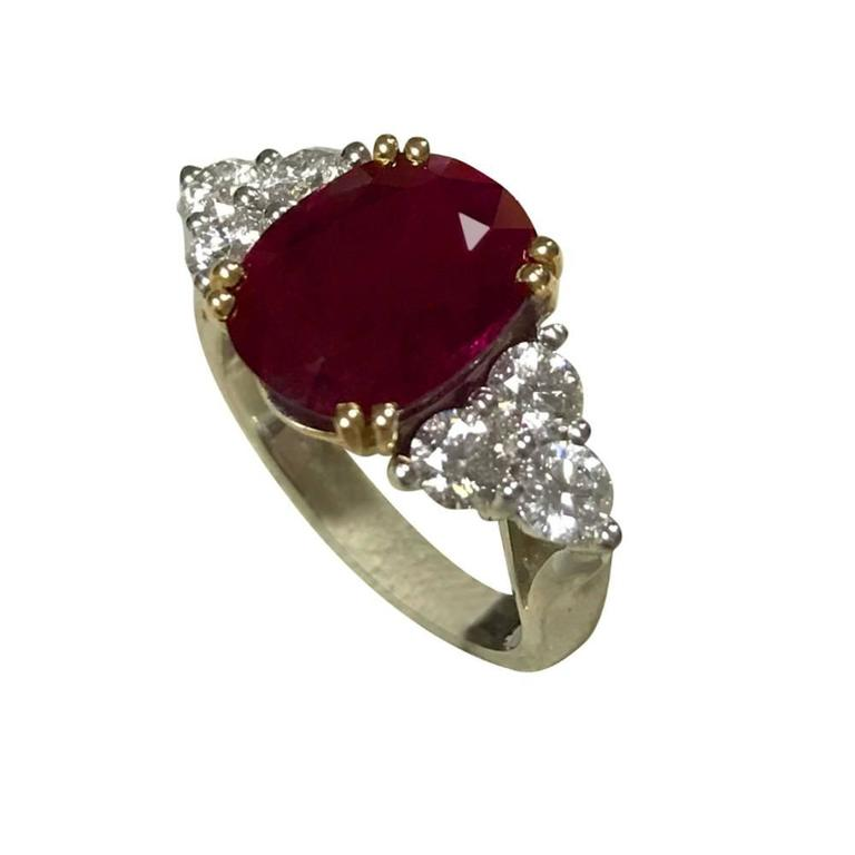 Ruby and Diamonds White Gold Ring