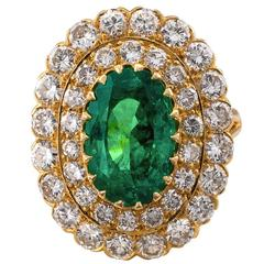 Oval Colombian Emerald Diamond Gold Ring
