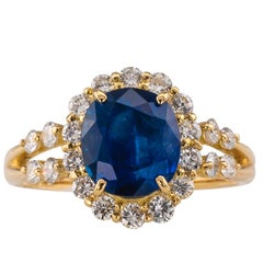 Sapphire Diamond Gold Cluster Ring