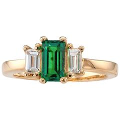 Emerald-Cut Emerald Diamond Gold Ring