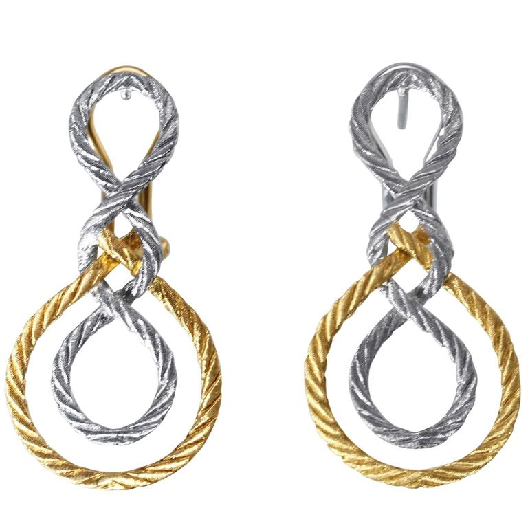 Buccellati Two Color Gold Woven Earclips