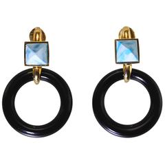 1970s Aldo Cipullo Onyx Pectolite  Gold Earrings