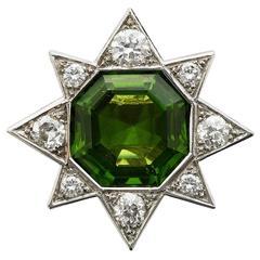 Andrew Grima Diamond Diamond White Gold Peridot Ring, 2000