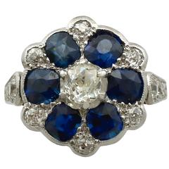 1910s Antique 1.38 Carat Sapphire and Diamond Yellow Gold Ring