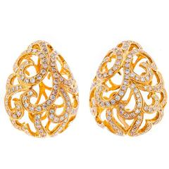 Fei Liu Diamond Gold Whispering Large Hollow Tear Earrings