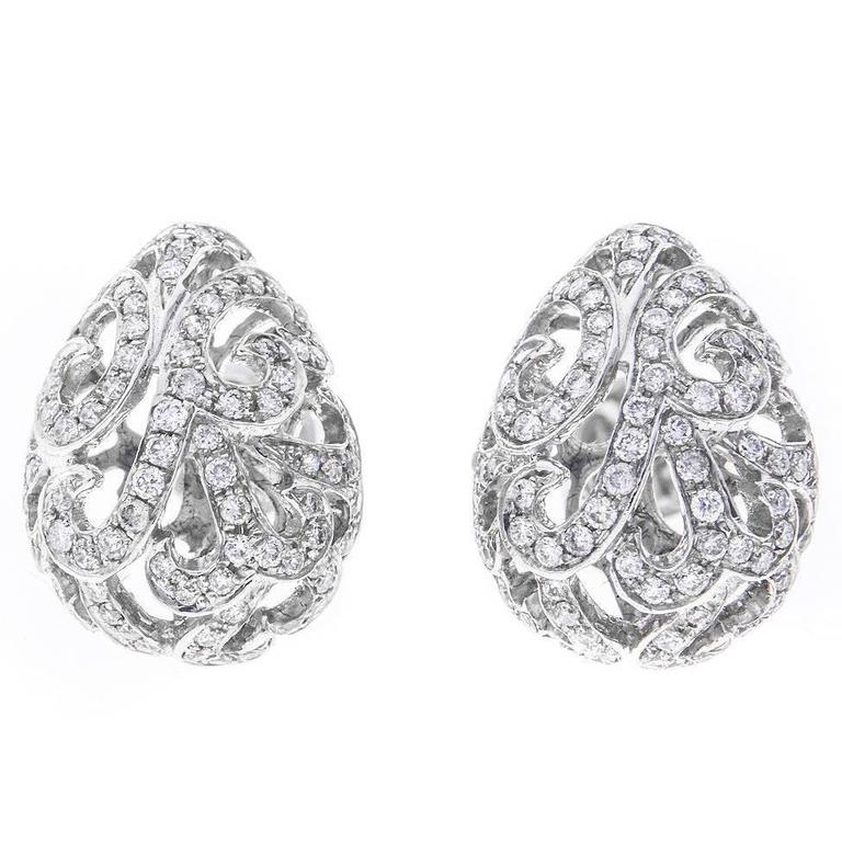 Fei Liu 18 Carat White Gold and Diamond Whispering Small Hollow Tear Earrings
