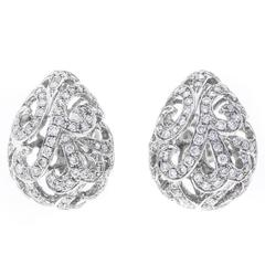 Fei Liu 18 Carat White Gold and Diamond Whispering Small Hollow Tear Earrings