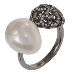 Fei Liu 18 Carat Black Gold Whispering Baroque Pearl and Small Hollow Ring