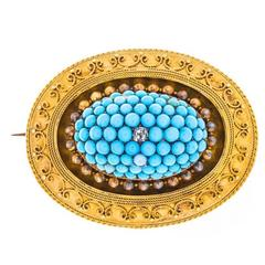 Victorian 15 Carat Gold Turquoise and Diamond Brooch