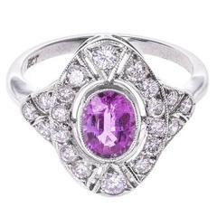 1.00 Carat Pink Sapphire Diamond Cocktail Ring
