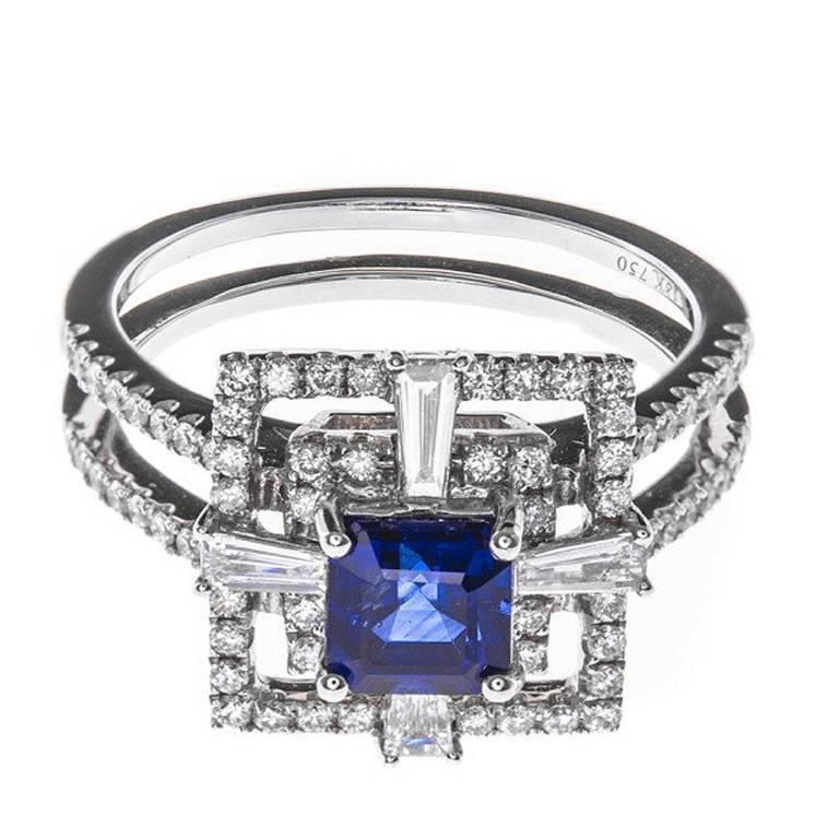 1.13 Carat Sapphire Diamond White Gold Cocktail Ring
