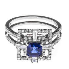 1.13 Carat Sapphire Diamond White Gold Cocktail Ring