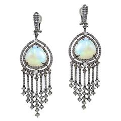 Ethiopian Opal Diamond Gold Chandelier Earrings