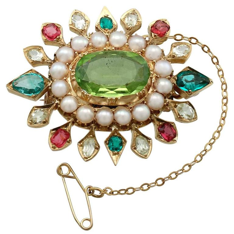 4.35 Carat Peridot 2.56 Carat Emerald and Sapphire Seed Pearl and Gold Brooch