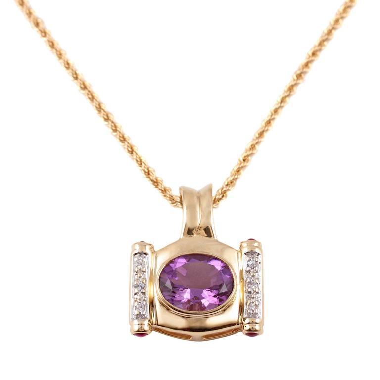 Amethyst Diamond Yellow Gold Necklace