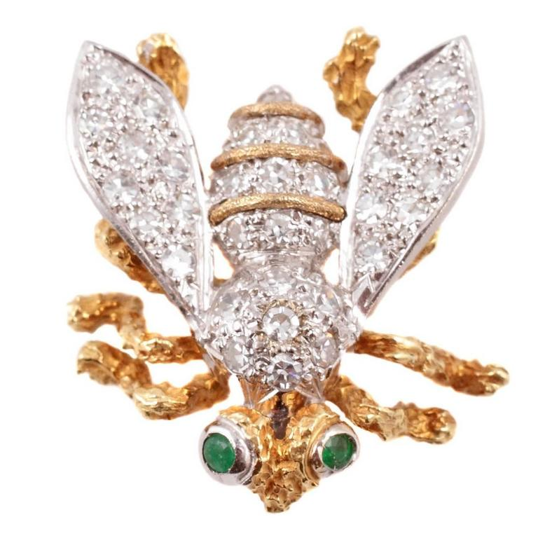 Diamond Emerald Yellow and White Gold Bee Brooch