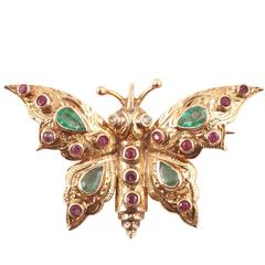 Emerald Ruby Yellow Gold Butterfly Brooch