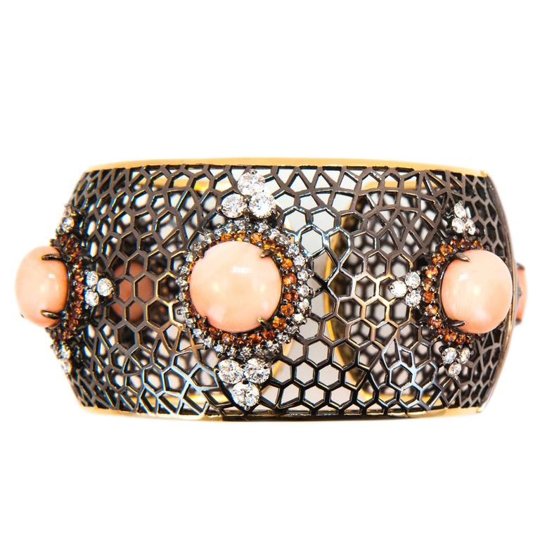Laura Munder Angel Skin Coral Orange Sapphire Diamond Blackened Gold Bracelet