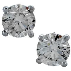 2.35 Carat Diamond White Gold Stud Solitaire Earrings