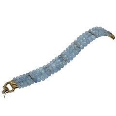 Aquamarine Diamond Gold Bracelet