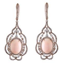 Angel Skin Coral Diamond Earring
