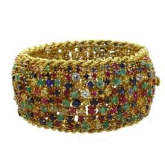 Luise Gold Diamond Sapphire Ruby Emerald Aquamarine Clamper Bracelet