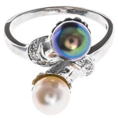 White Gold Tahitian and Akoya Pearl with Diamonds Cross over Ring