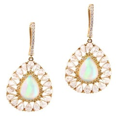 Ethiopian Opal Yellow and White Diamond Earring