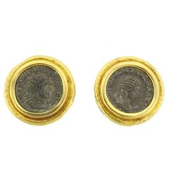 Large Elizabeth Locke Coin Gold Earrings