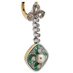 Antique Edwardian Pearl Emerald Diamond Platinum Gold Dangle Earrings
