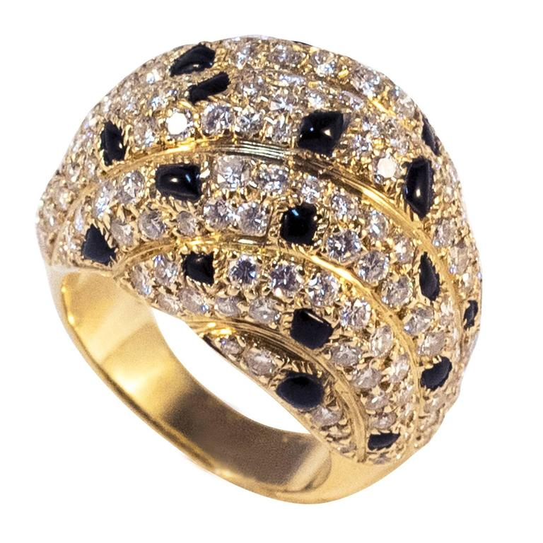 Cartier Panther Model Onyx Diamond Gold Ring For Sale