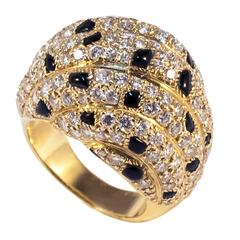 Cartier Panther Model Onyx Diamond Gold Ring