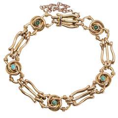 Antique Art Nouveau Turquoise Infinity Knot Gold Bracelet