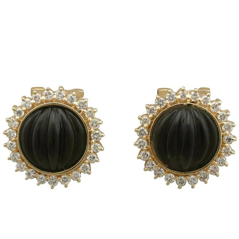 1970s Black Onyx Diamond Yellow Gold Earrings 1