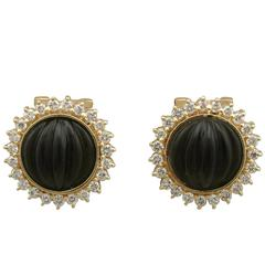 1970s Black Onyx Diamond Yellow Gold Earrings
