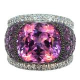 Laura Munder Pink Tourmaline Pink Sapphire Diamond Blackened White Gold Ring