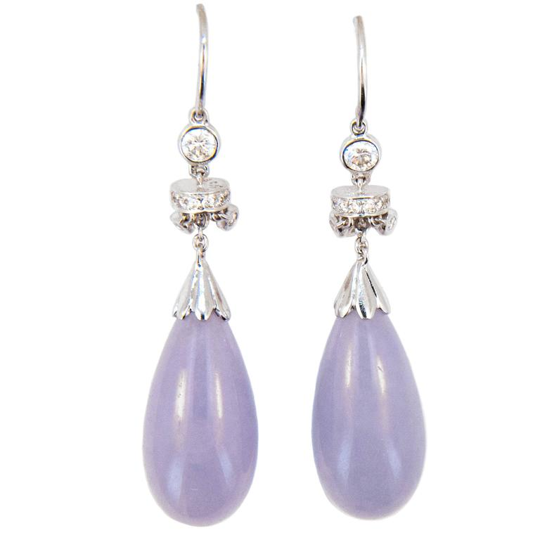 Lavender Jade Diamond White Gold Earrings 1