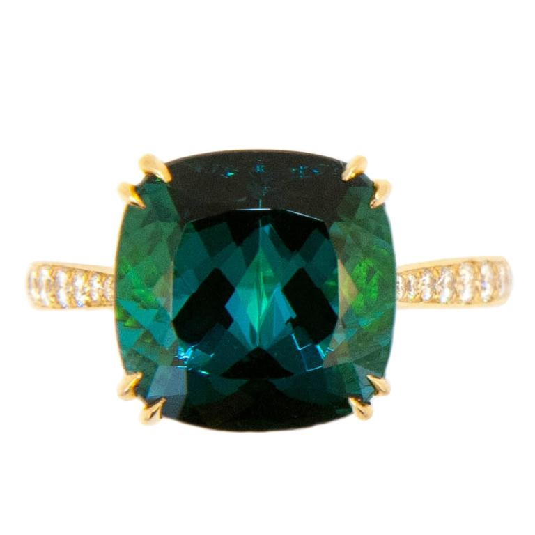 Laura Munder Indicolite Blue Green Tourmaline Diamond Yellow Gold Ring For Sale