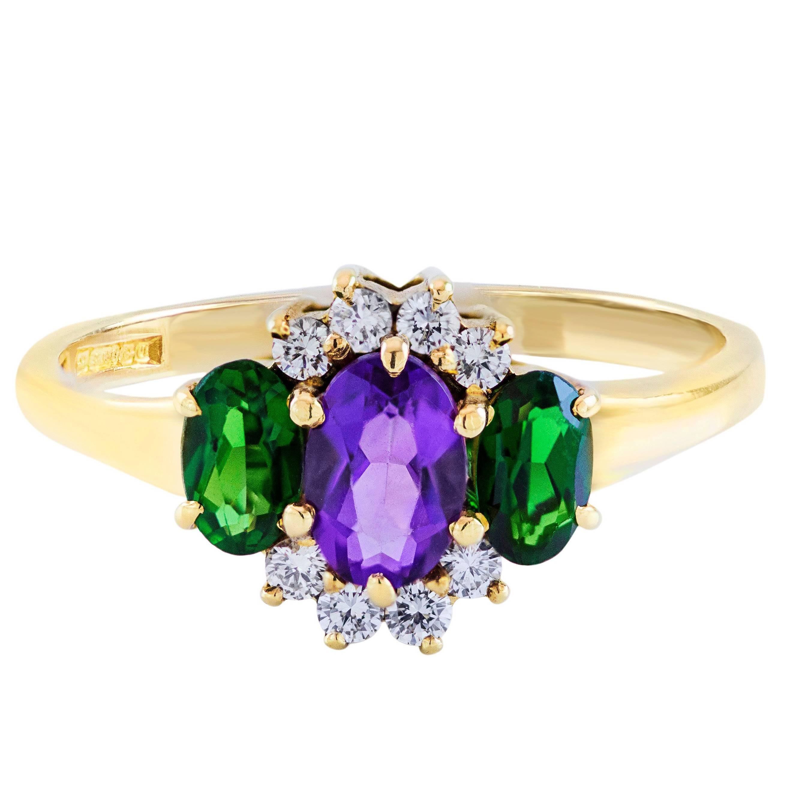 Amethyst Tourmaline Diamond Three-Stone  Ring