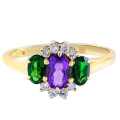 Amethyst Tourmaline Diamond Three-Stone  Ring