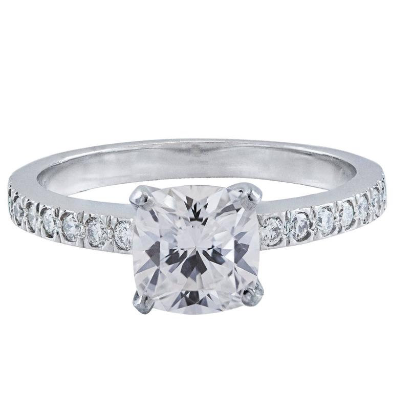 Tiffany & Co. 1.01 Carat Cushion Diamond Platinum Engagement Ring