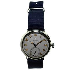 Omega Nickel Silver Military Campaign Style Wristwatch