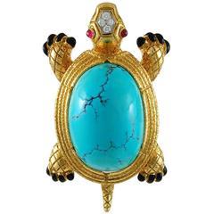 1970s David Webb Turquoise Ruby Diamond Gold Brooch