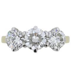 1970s 2.25 Carat Three-Stone Diamond Engagement Ring