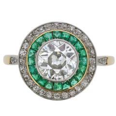 Victorian Diamond and Emerald 'Target' Ring, circa 1890s