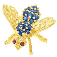 Herbert Rosenthal Sapphire Gold Bee Brooch