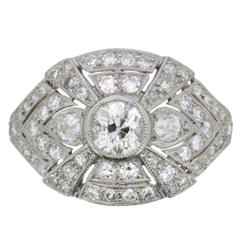 Art Deco Platinum and 1.70 Carat Diamond Cluster Ring, circa 1930s