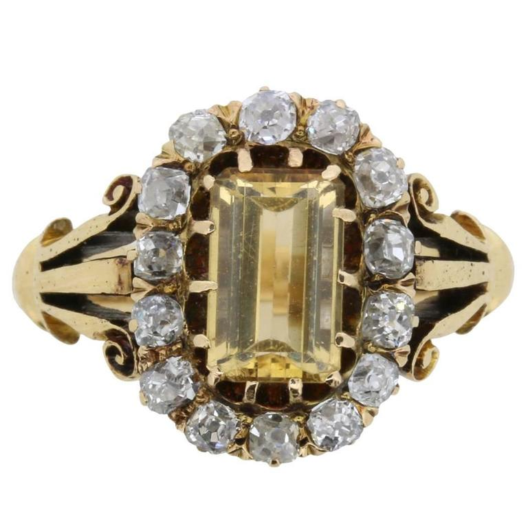 Victorian Citrine and Old Cut Diamond Ring, circa 1880s 1