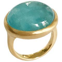 Dalben Round Cabochon Aquamarine Yellow Gold Ring