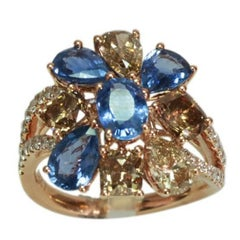 Brown Diamond Blue Sapphire Floral Ring